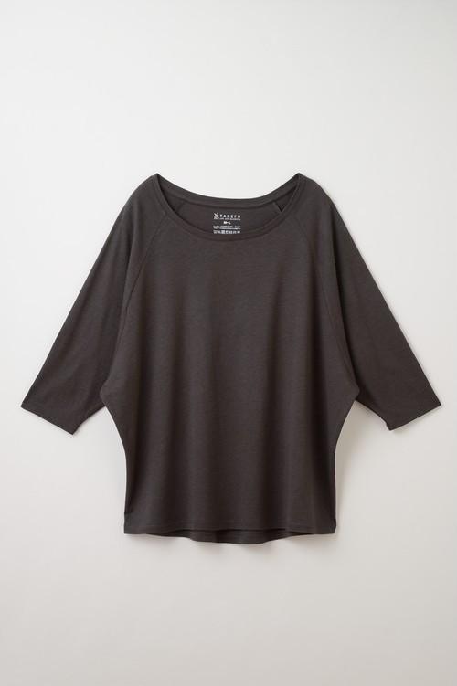 竹のドルマン七分袖Tシャツ(チャコール)
