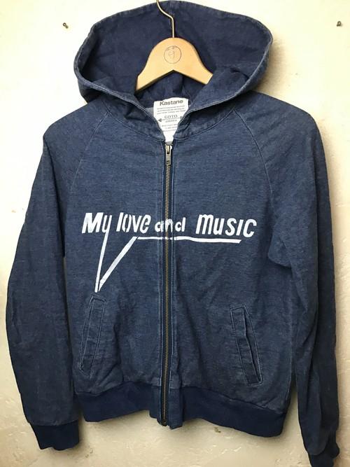 MY LOVE & MUSIC インディゴパーカー レディスS
