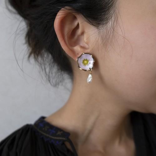 PEKI!RARIGON Flower pearl earrings cherry blossom