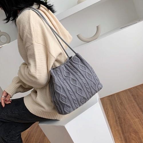 ニット ニットバッグ ハンドバッグ シンプル ショルダーバッグ かばん 鞄 バッグ 大人 大人女子 お出かけ 人気 フェミニン きれいめ
