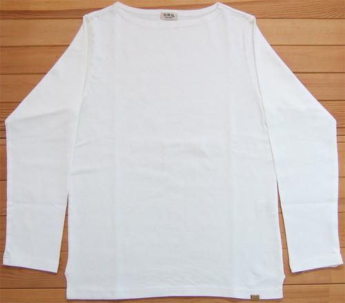 D.M.G ドミンゴ DMG 19-068N 31-8 ボートネックシャツ ホワイト バスクシャツ 無地 カットソー バスクT ロンT BD天竺 MadeinJAPAN 日本製