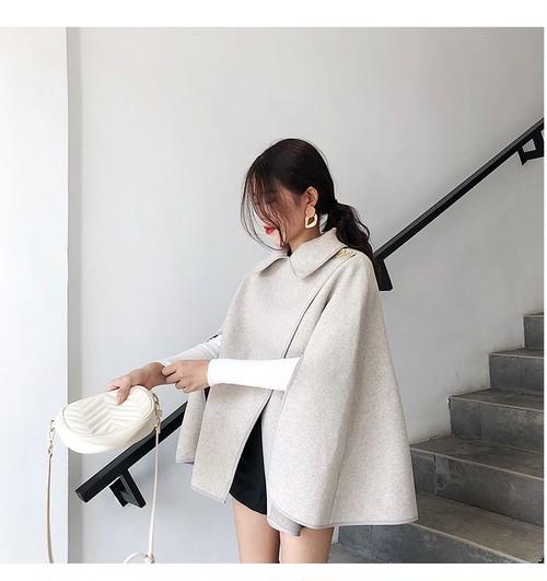 秋冬ファッション ミディアム丈のゆったりポンチョ 韓国スタイル カジュアル アウター