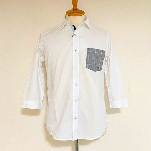 Glen Check Pocket Regular Collar 7/S Shirts White