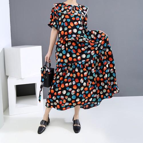 ドット柄 ワンピースピーターパンカラー 韓国ファッション レディース ドットワンピース ベルフラワースカート ゆったりウエスト 大人カジュアル 大人可愛い