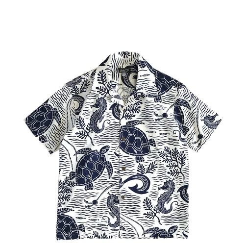 Mountain レディース&ボーイズ アロハシャツ /  Sea good  / White