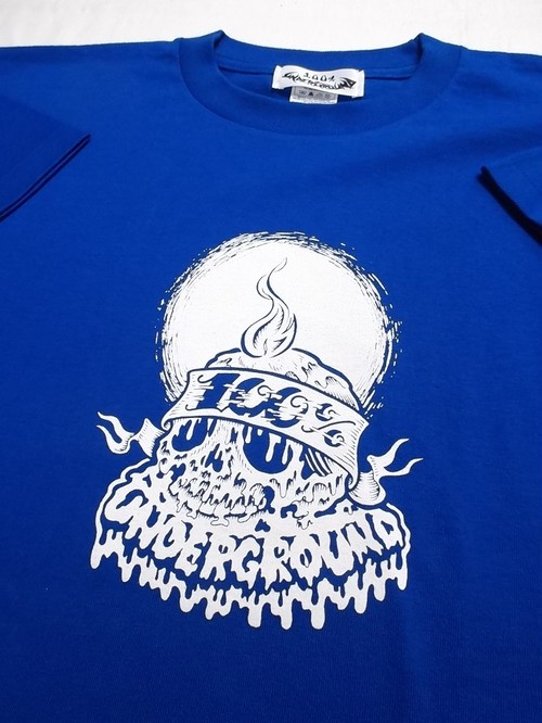 100% UNDERGROUND CANDLE SKULL R.BLUE T-SHIRTS