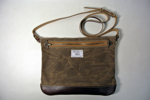 ARTIFACT BAG Co.    No.9 Cross-body Personal Effects Bag   (Dark Khaki Wax/Brown)