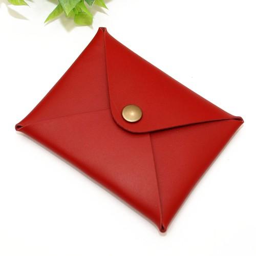 牛革レッド・レター型カード名刺ケース 国産牛本革/Made in Japan Bateisha
