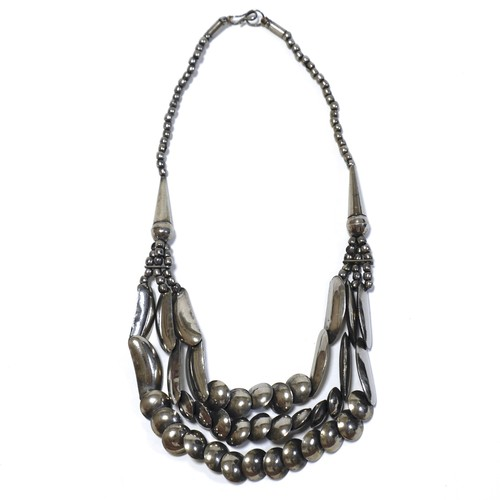 Vintage Mexican Sterling Silver Triple Concho Necklace