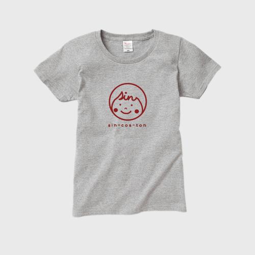 レディースTシャツ sin-cos-tonロゴ(red)
