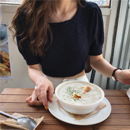 【トップス】ファッション合わせやすいスリムパフスリーブTシャツ20520158
