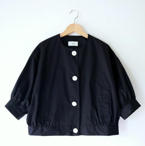 ワッシャーサテンジャケット・ブラック