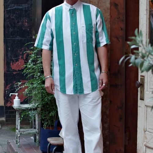 "1990s ""Wide Stripe"" Button Down Shirt / 90年代 ボタンダウン・シャツ / ワイドピッチ ストライプ"