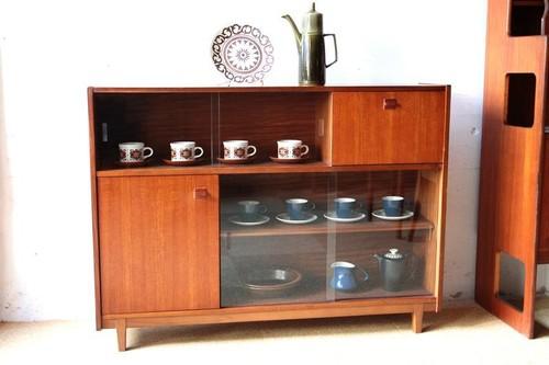 1960~70年代 イギリス Nathan チーク カップボード 食器棚 本棚 アンティーク ヴィンテージ