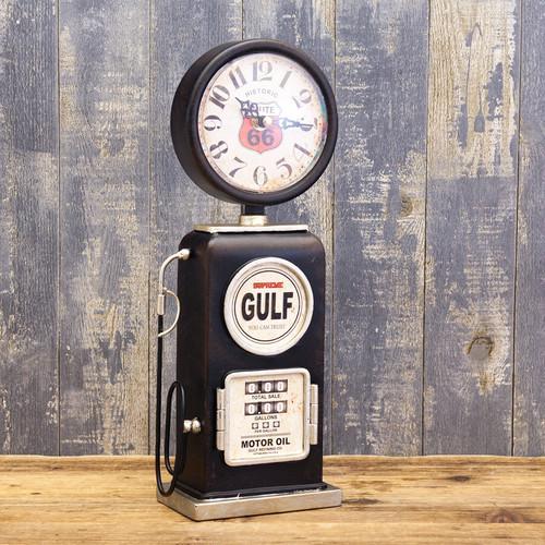 アメリカンレトロ「ガスポンプ型テーブルクロック」置時計 ブラック・黒