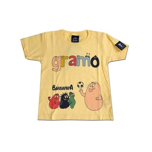 BARBAPAPA×gramo コラボ Tシャツ「lesson-T」(ライトイエロー/T-019) ※110cm~150cm