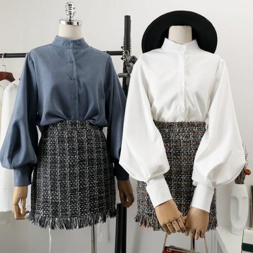【トップス】香港風春秋パフスリーブシックラウンドネックシャツ/ブラウス
