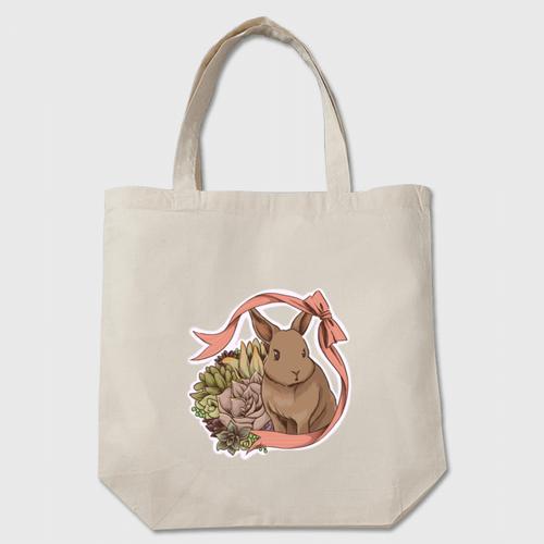 多肉植物×うさぎ トートバッグ