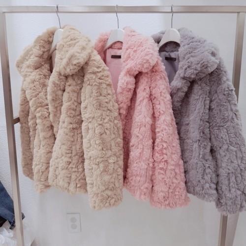 コットンキャンディーファージャケット ファージャケット アウター 韓国ファッション