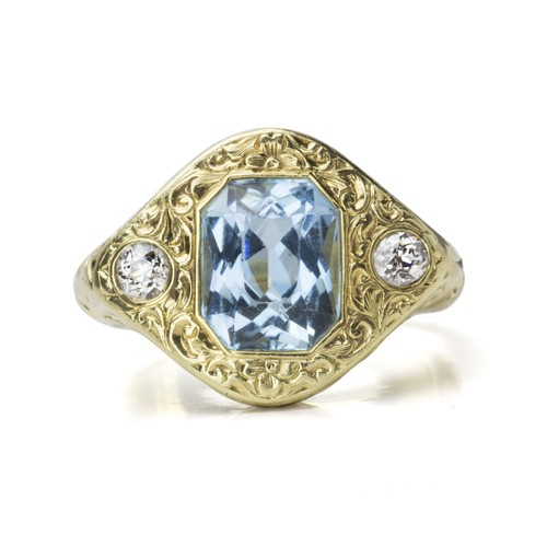 Art Nouveau Aquamarine Diamond Ring