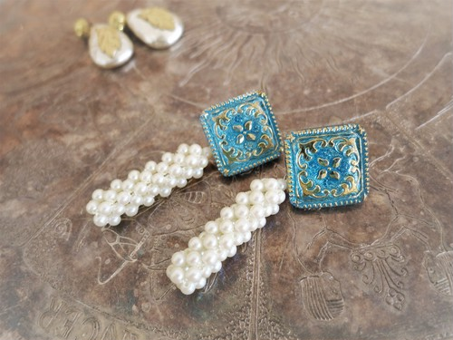 vintage pierced earrings pearl <PE-blmspl>