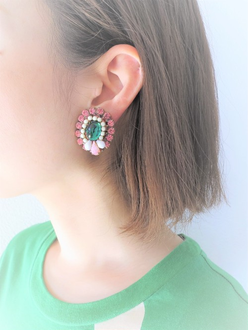 vintage earrings bijou <ER-RBpk>