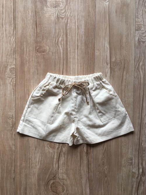 【即納】リネン ベーシック ショートパンツ オフホワイト