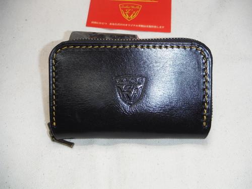 ラウンドファスナー   ミニ財布 ガラスブラック×オイルブラック タンニンオイルレザー