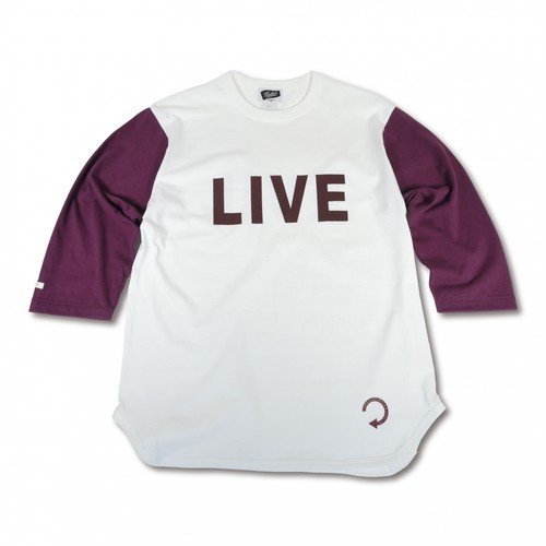 EVILACT(イーブルアクト) / Backwards 3/4 sleeve Baseball T's(natural×burgundy)