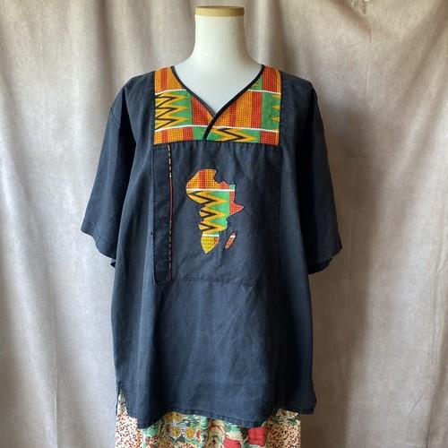 USA vintage linen tops/アフリカンなデザイントップス