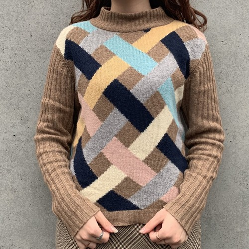 (LOOK) cross mulch color high neck knit