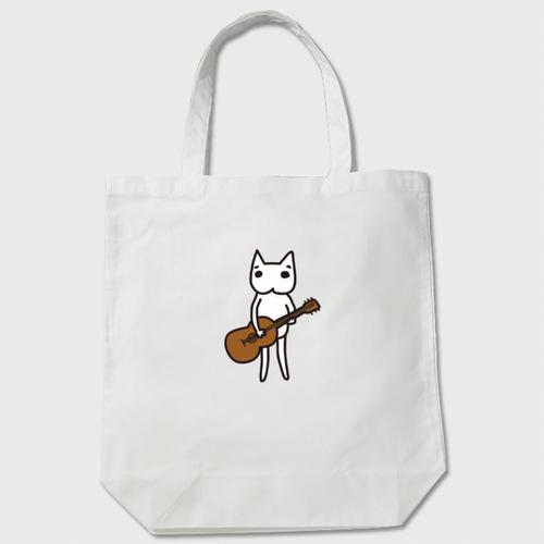 白猫のハク様 ギター トートバッグ 白/ベージュ