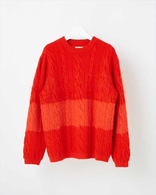 【COOHEM UNISEX】ANIMAL GRADATION SWEATER:レッド