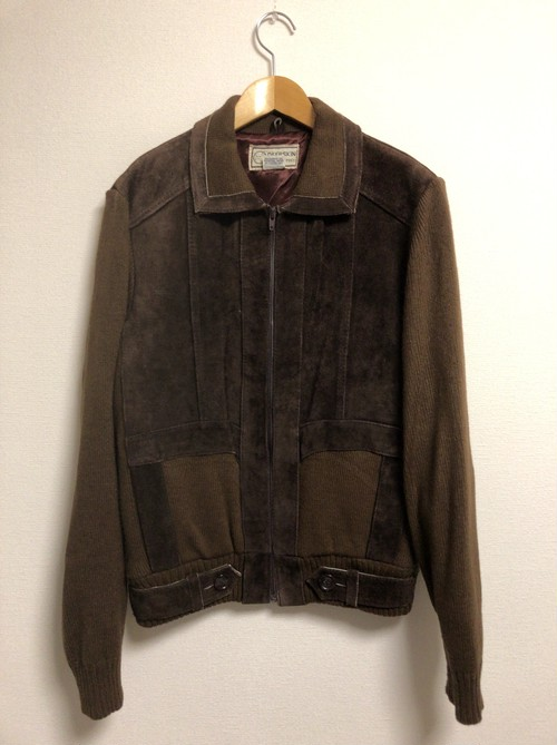 70's suede × knit jacket