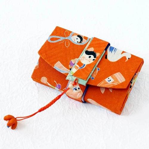 和風名刺入れ(筥迫風)カードケース アンティーク着物リメイク 玩具紋様 マグネットタイプ