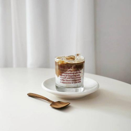 9oz flat white cup / レッド レタリング ガラス コップ グラス韓国 北欧 インテリア 雑貨