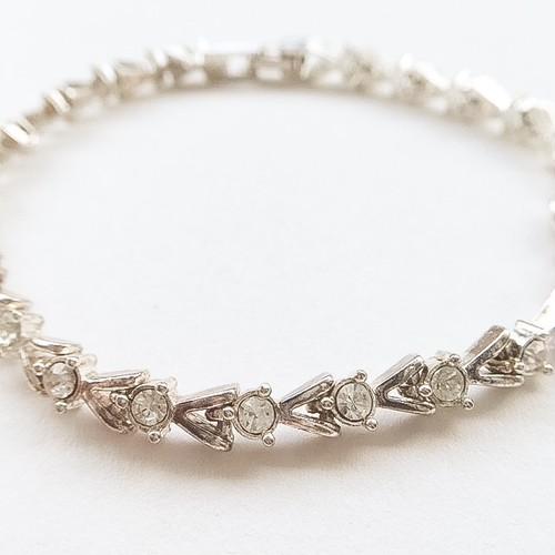 """AVON"" silver & rhinestone bracelet[h-48]"