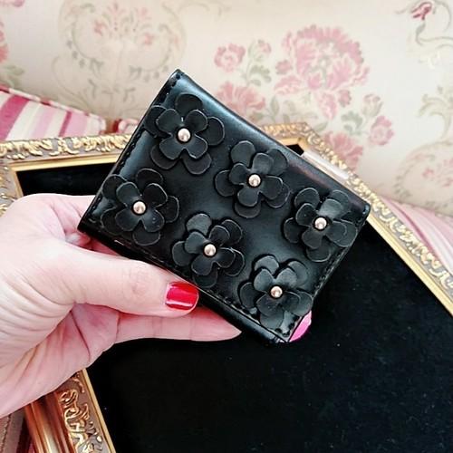 【コンパクト3つ折り財布】ガマ口コインパース☆カードポケット3個♪◆シエンプレ ブラック