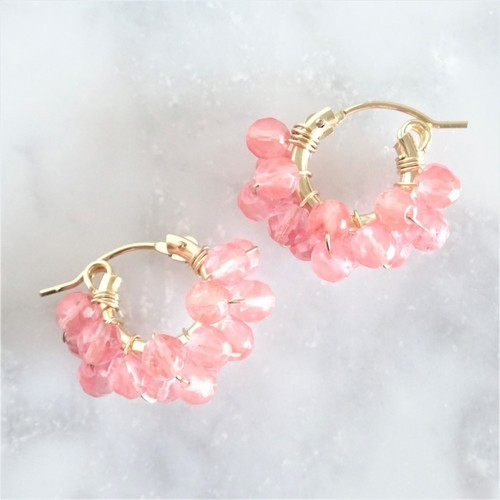送料無料14kgf*Cherry Quartz wrapped hoop pierced earring/earring