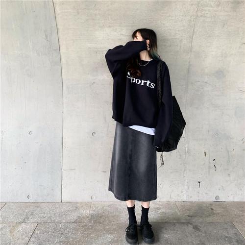 ミディ丈デニムスカート1011-201217033