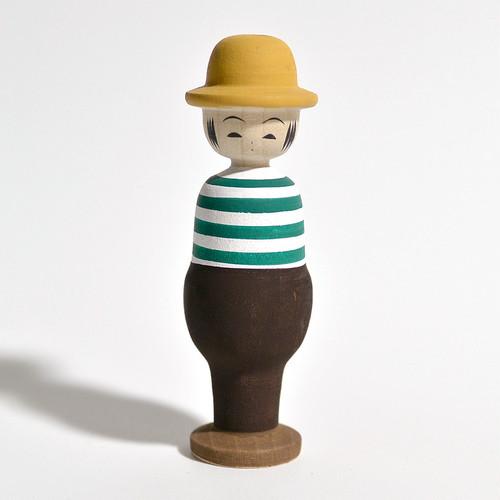 紳士こけし(ボーダー) 約4寸 約11.2cm 田山和泉 工人(南部系)#0019