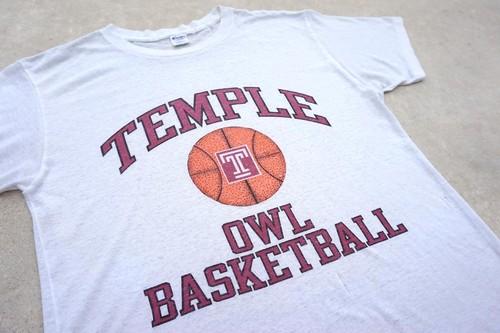 1980's Champion 染み込みプリント カレッジTシャツ TEMPLE OWLS ホワイト 表記(L) チャンピオン