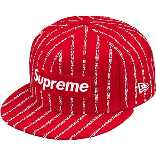 Supreme  x New Era Text Stripe Box Logo Cap Red