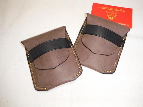 差し込み式 名刺 or カード or コインケース 吟擦りオイルレザー チョコ