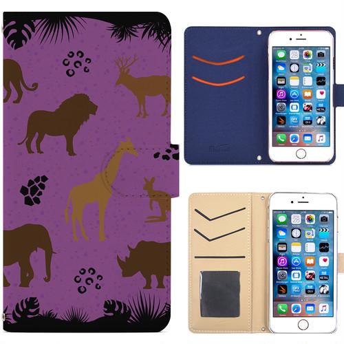 Jenny Desse iphone 6/6S plus ケース 手帳型 カバー スタンド機能 カードホルダー パープル(ブルーバック)