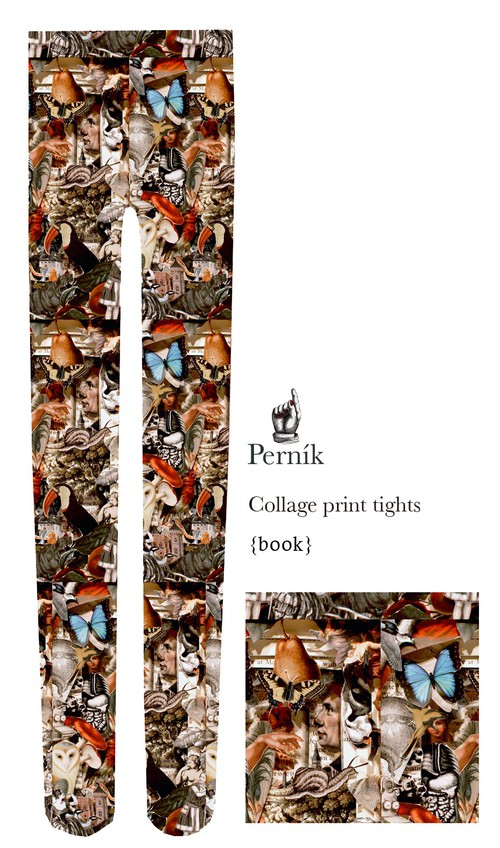 Collage print tights『book』