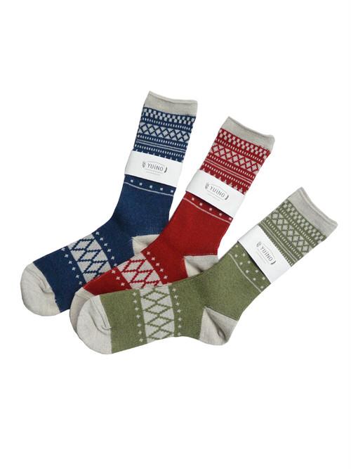 yuino Cotton&Wool ジャガード Socks レディース