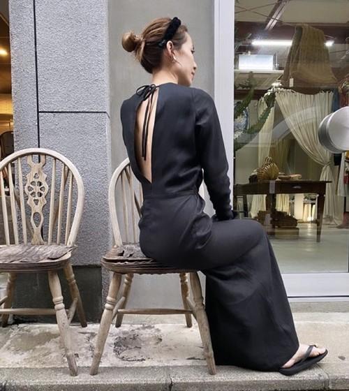 Robe noeud dress : open back Linen Black/Kinari