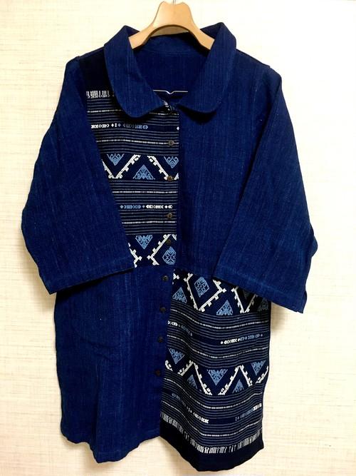 【藍先染め手紡ぎ手織り浮き織りコート】七分袖B