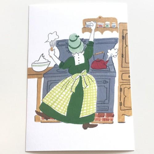 うめだゆみ ポストカード「おばあさんのお茶会・キッチン」